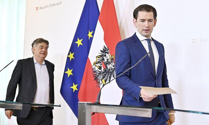 Vizekanzler Werner Kogler und Bundeskanzler Sebastian Kurz.