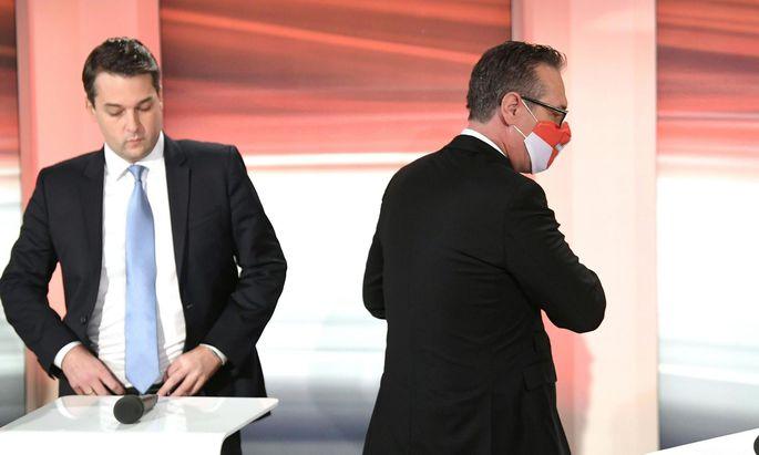 Nach der Wien-Wahl 2020 blieb Nepp (l.) mit der FPÖ auf der politischen Bühne, Straches Liste scheiterte.