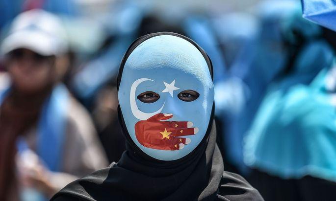 Ein uigurischer Demonstrant.