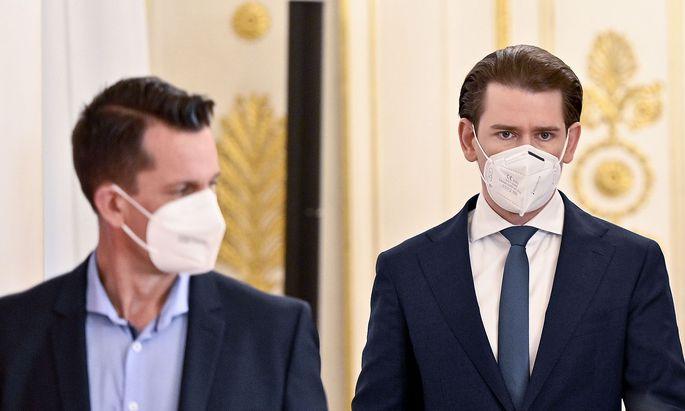 Sebastian Kurz und Wolfgang Mückstein sind zufrieden mit dem Impffortschritt.
