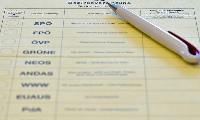 Der Stimmzettel für dei Bezirksvertretungswahl