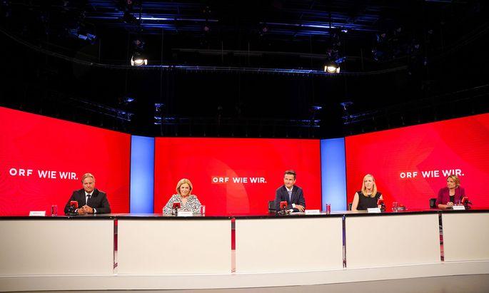 Der kommende ORF-General Roland Weißmann inmitten seines neuen Teams: Harald Kräuter, Ingrid Thurnher, Eva Schindlauer und Stefanie Groiss-Horowitz.