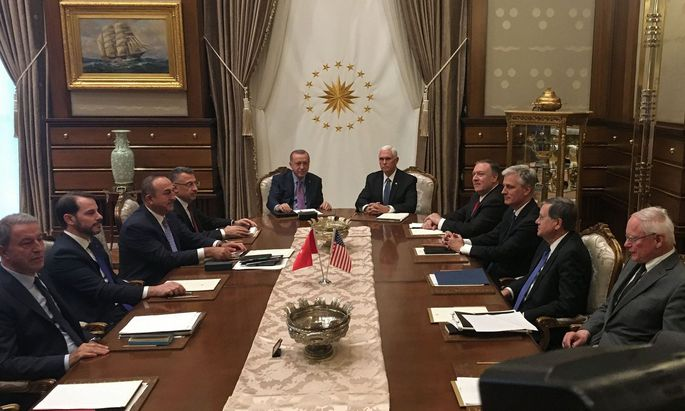 Erdogan und Pence machten laut dem US-Vizepräsidenten Waffenstillstand in Nordysrein aus