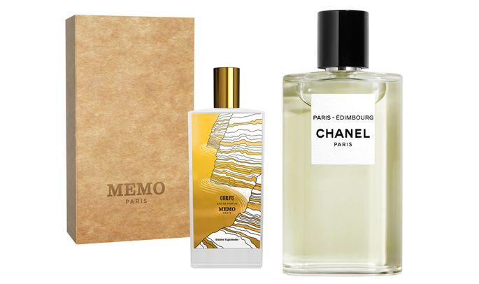 """Paris–Édimbourg"" von Les Eaux de Chanel (125 ml um 127€); ""Corfu"" von Memo Paris (75 ml um 205 €)."