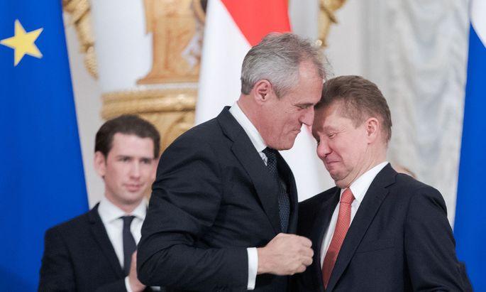 Die Chefs von OMV und Gazprom, Seele und Miller, einigen sich auf einen Milliardendeal