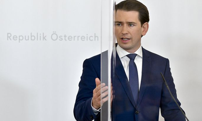 Bundeskanzler Sebastian Kurz (ÖVP) bei einer Pressekonferenz im Kanzleramt.
