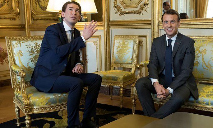 Archivbild aus Kanzler-Zeiten: Sebastian Kurz besuchte Mitte Jänner 2018 Emmanuel Macron in Paris.