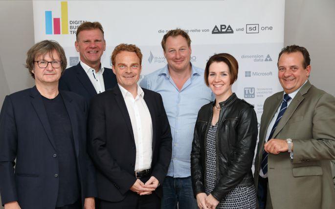 Im Bild v.l.n.r.: Christian Huemer (TU Wien), Michael Strebl (Wien Energie), Mario Koplmüller (epunkt), Gerhard Fehr (FehrAdvice & Partners), Eva Zehetner (A1 Telekom Austria Group), Thomas Stern (Braintrust)