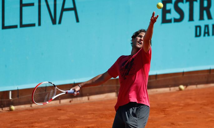 May 2, 2021, MADRID, MADRID, SPAIN: Dominic Thiem of Austria in action during his practice session for the ATP, Tennis