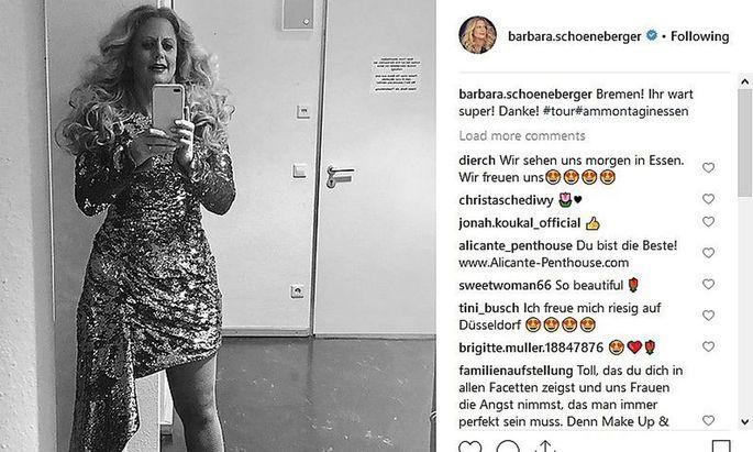 Barbara Schönebergers Instagram-Auftritt ist ein Ich-Account, auf so gut wie jedem Post ist sie zu sehen.