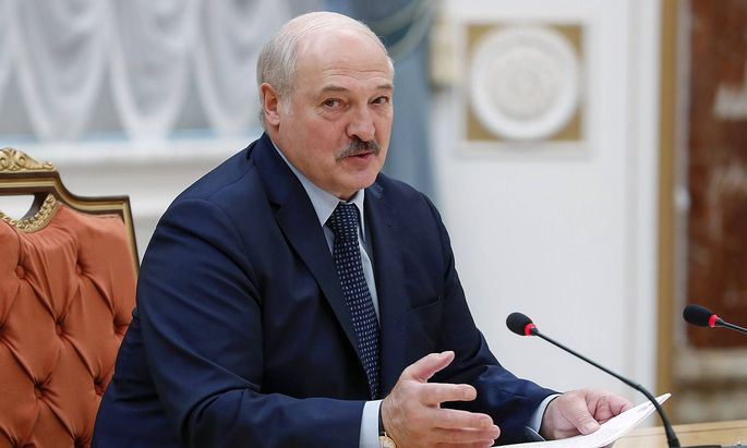 MINSK, BELARUS - MAY 28, 2021: Belarus President Alexander Lukashenko holds a meeting with the heads of delegations to a