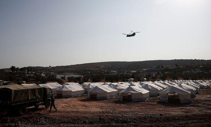Die neue Zeltstadt auf Lesbos.