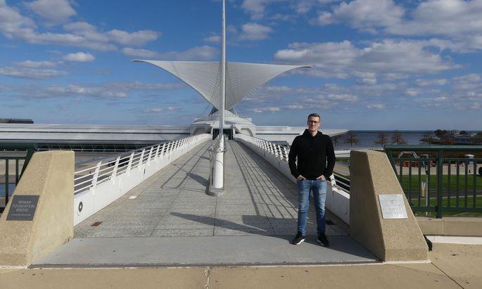 Auslands-Praktikant Markus Mitterlehner in Milwaukee. Auf Grund der US-Bestimmungen durfte er allerdings nur unentgeltliche an der dortigen Universität tätig sein.