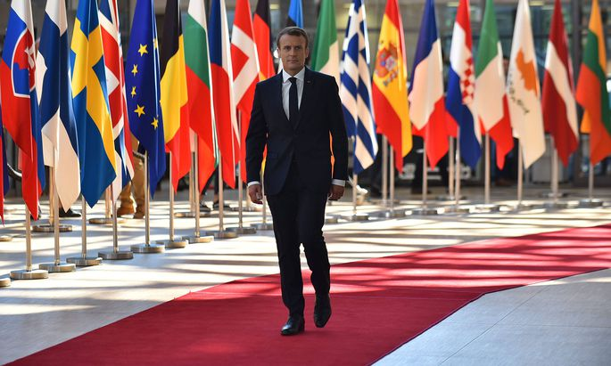 June 29, 2018 - Brussels, Belgium - French President Emmanuel Macron arrives at The European Council summit in Brussels