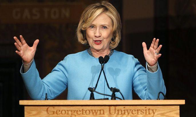 Ex-Außenministerin Clinton bei einer Rede an der Georgetown University.