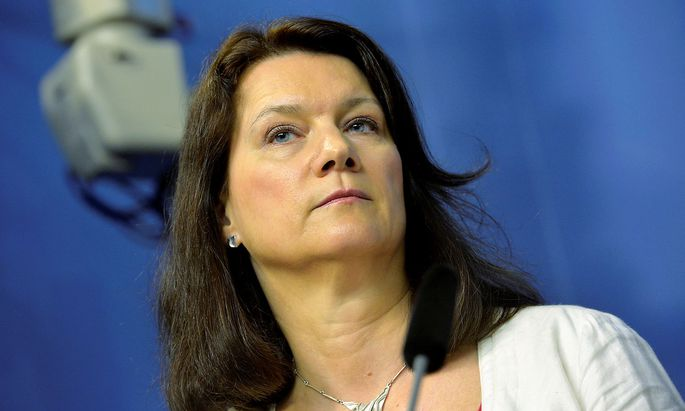 FILE PHOTO: Ann Linde, Sweden's new Minister for EU Affairs and Trade, attends a news conference after a government reshuffle, in Stockholm