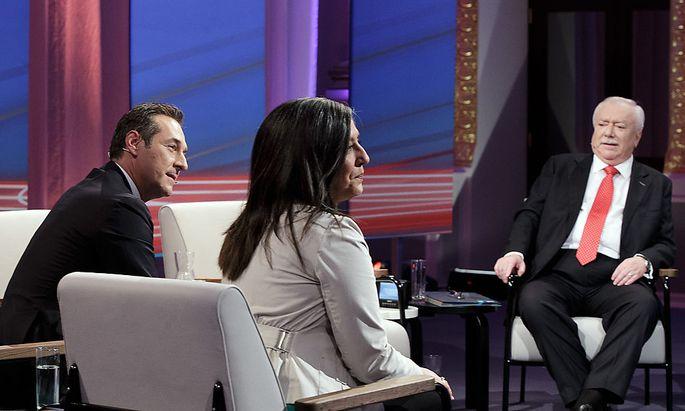 Strache, Vassilkaou und Häupl (v.l.n.r.) bei der TV-Konfrontation der Spitzenkandidaten am Montag