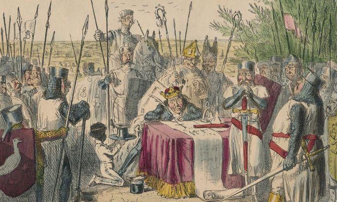1215 zwangen die Barone König Johann I., die Magna Charta zu unterschreiben. Das zeigt die satirische Illustration von 1850.
