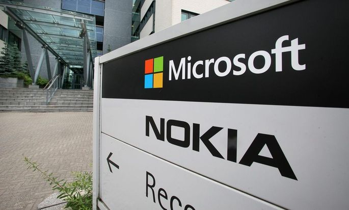A view of Microsoft and Nokia signs in Peltola, Oulu