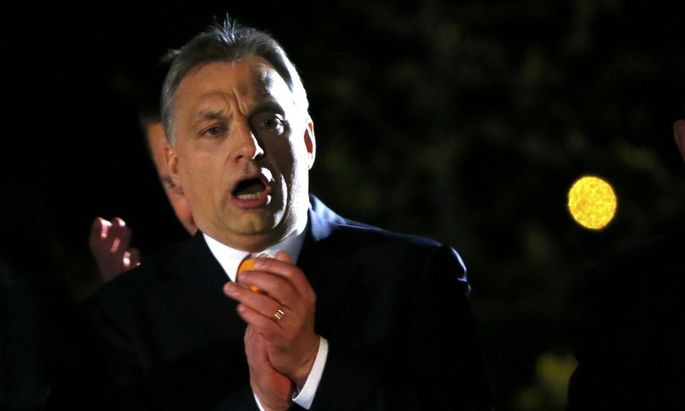Hungary's PM Orban addresses to supporters after partial results of parliamentary elections are announced in Budapest