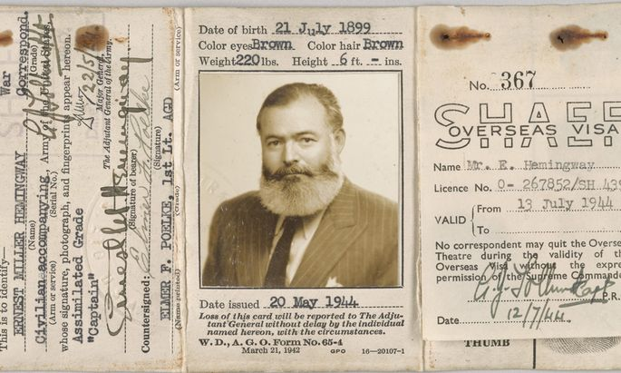Ernest Hemingway´s Certificate of Identity of Noncombatant, 1944 May 20, Non-Morgan, John F. Kennedy Presidential Library and Museum.