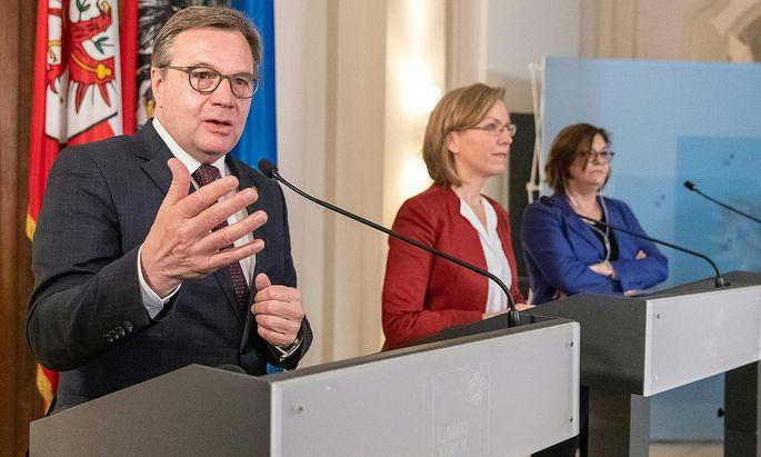Das Gespräch brachte keine Lösung: Platter, Gewessler und Valean besprachen am Freitag die Tiroler Maßnahmen, um den Transitverkehr einzudämmen.