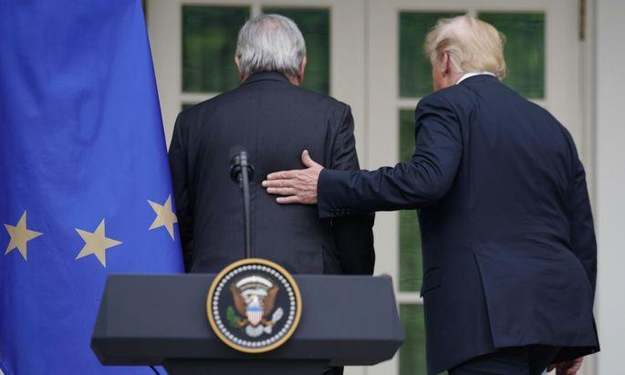 EU-Kommissionspräsident Juncker hat den launischen US-Präsidenten bei Laune gehalten.