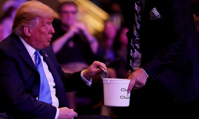 U.S. President Donald Trump attends a service at the International Church of Las Vegas