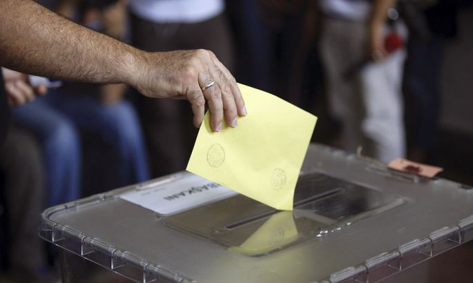 A man casts his ballot at a polling station during presidential elections in Istanbul