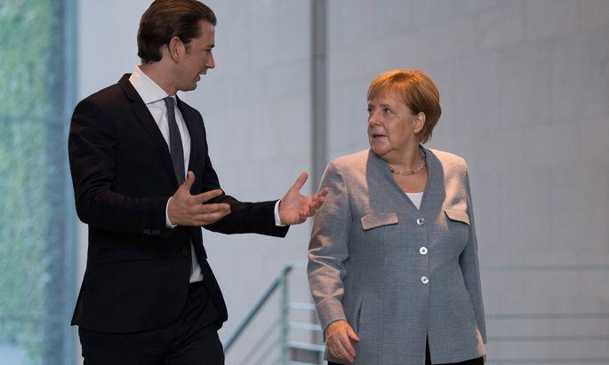 Sebastian Kurz mit Angela Merkel.