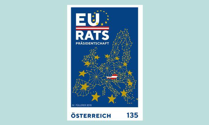 EU RATS PRÄSIDENTSCHAFT, die EU-Sondermarke der österreichischen Post sorgt für Diskussionen.