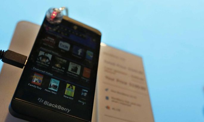 A new Blackberry Z10 smartphone is displayed at a store in New York in this file photo