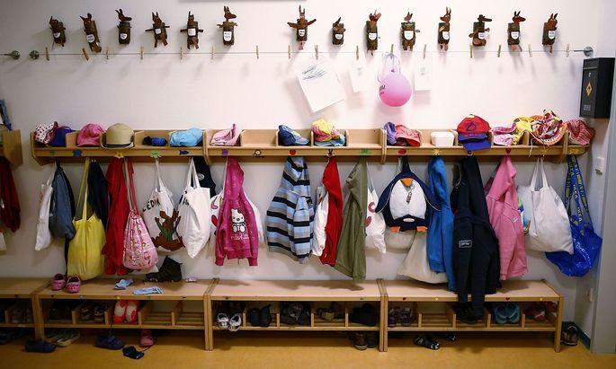 Wardrobe for children is seen inside Kindergarten in Hanau