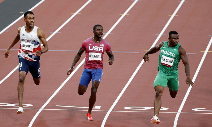 Trayvon Bromell (Mitte) hatte im Vorlauf zwar mehr Mühe als gedacht, ist aber trotzdem im Halbfinale.