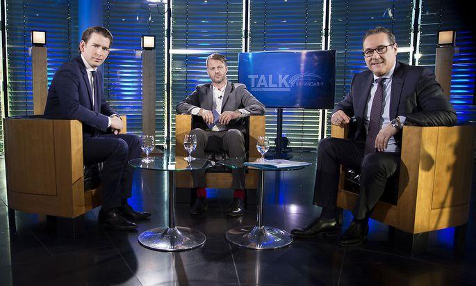 Der Talk im Hangar fand diesmal nicht im Hangar statt: Sebastian Kurz, Michael Fleischhacker und Heinz-Christian Strache.