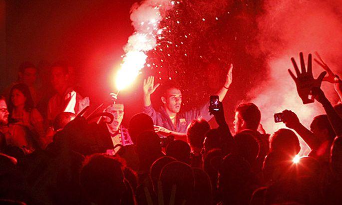 Die Siegesfeier in Barcelona geriet außer Kontrolle.