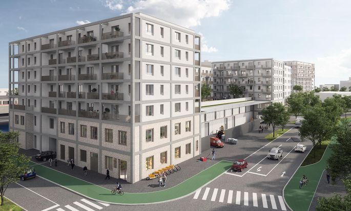 """Visualisierung des Projekts """"Aspernstraße"""" in Wien von 6B47, das auf Basis des Konzepts """"Produktive Stadt"""" geplant wurde."""