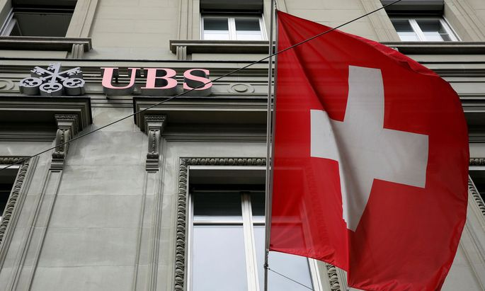 The logo of Swiss bank UBS is seen outside their branch in Bern