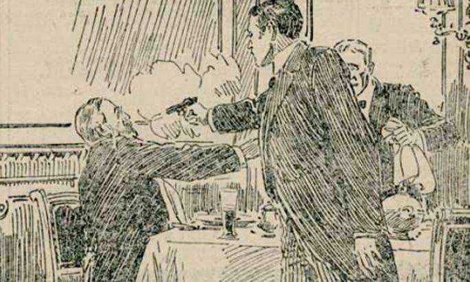 Illustration der ''Kronenzeitung'' nach dem Attentat.
