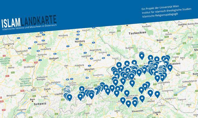 """Die Kritik an der Ende Mai präsentierten """"Islam-Landkarte"""" der Dokumentationsstelle """"Politischer Islam"""" reißt nicht ab."""