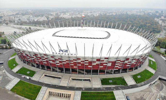 Einen Drohnenaufnahme des Nationalstadions in Warschau, wo künftig auch Coronavirus-Patienten behandelt werden sollen.