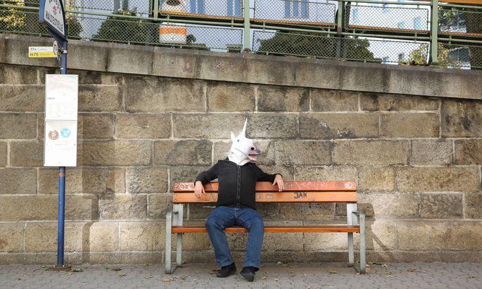 Mit Einhornmaske auf der Bank sitzen: eine Verwaltungsübertretung im Sinne des Anti-Gesichtsverhüllungsgesetzes.