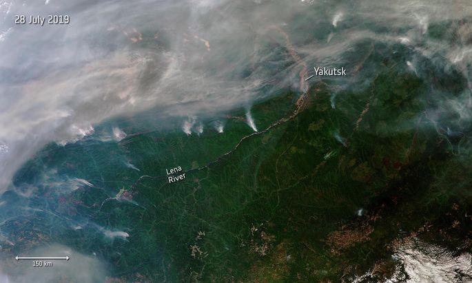 Bilder des ESA-Satelliten Sentinel-3 von sibirischen Buschbränden.
