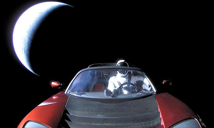 Der Tesla auf einem Bild der Firma SpaceX