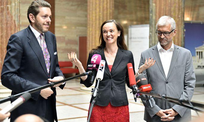 Bildungsministerin Hammerschmid flankiert von Wissenschaftsminister Mahrer (links) und dem grünen Bildungssprecher Walser.