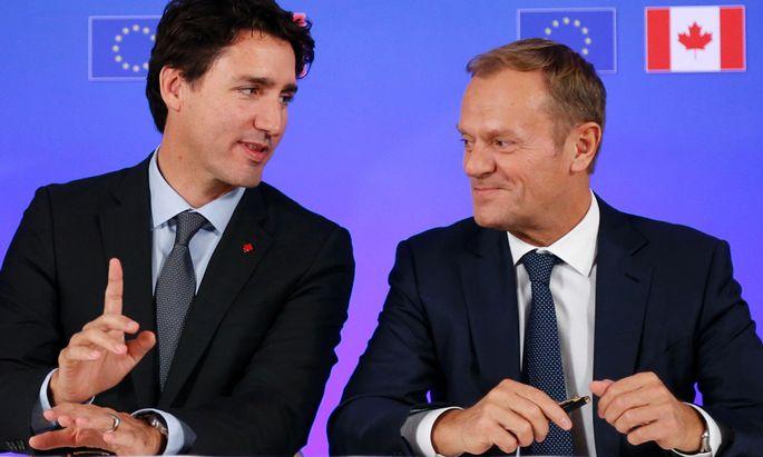 Kanadas Premierminister Justin Trudeau und Ratspräsident Donald Tusk.