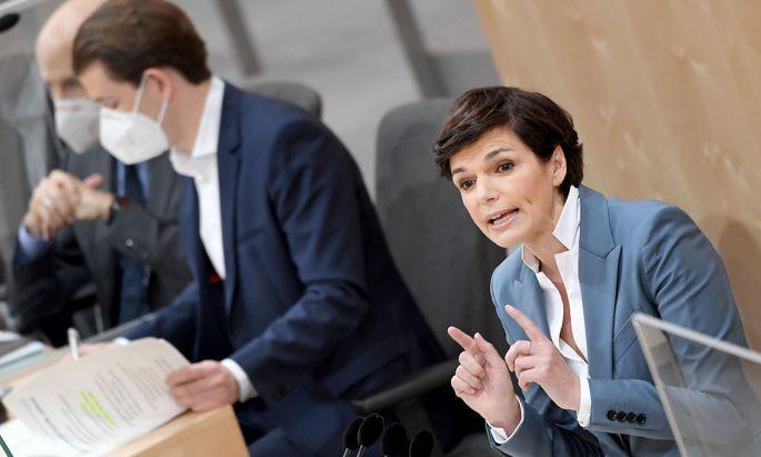Arbeitsminister Martin Kocher (ÖVP), Bundeskanzler Sebastian Kurz (ÖVP) und SPÖ-Chefin Pamela Rendi-Wagner