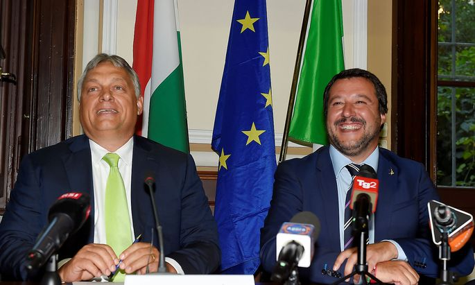 Italian Interior Minister Matteo Salvini meets with Hungarian Prime Minister Viktor Orban in Milan