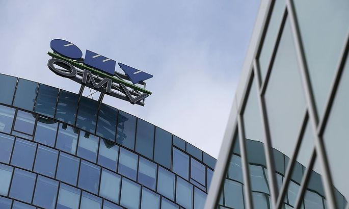 The logo of Austrian oil and gas group OMV is pictured at its headquarters in Vienna