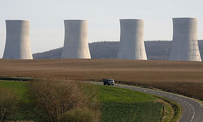 The cooling towers of the unfinished blocks 3 and 4 of the Nuclear Power Plant Mochovce some 160 km (
